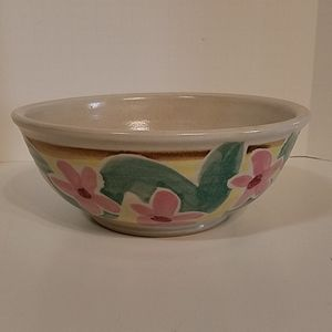 "Vintage Hand Crafted Pottery 8"" Floral Bowl"